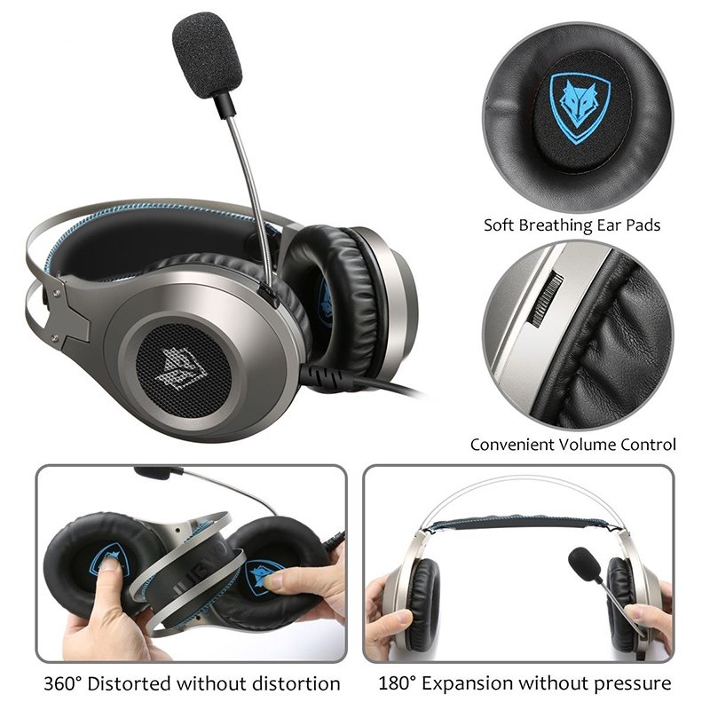 3 5mm/ USB Jack Gaming Headphones LED Over-Ear Stereo Deep Bass Noise  Canceling Game Headsets With Microphone For PC Gamer