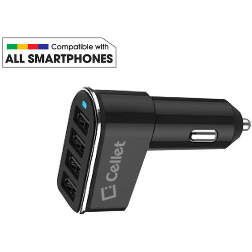 Cellet Universal 26-Watt 5.2-Amp 4-Port Car Charger for Android and Apple Devices, Black