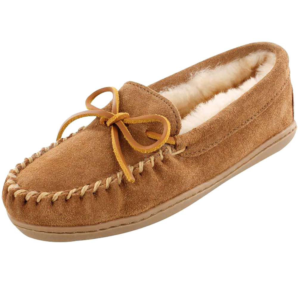 Minnetonka Womens Golden Tan Sheepskin Hardsole Mocs by MINNETONKA
