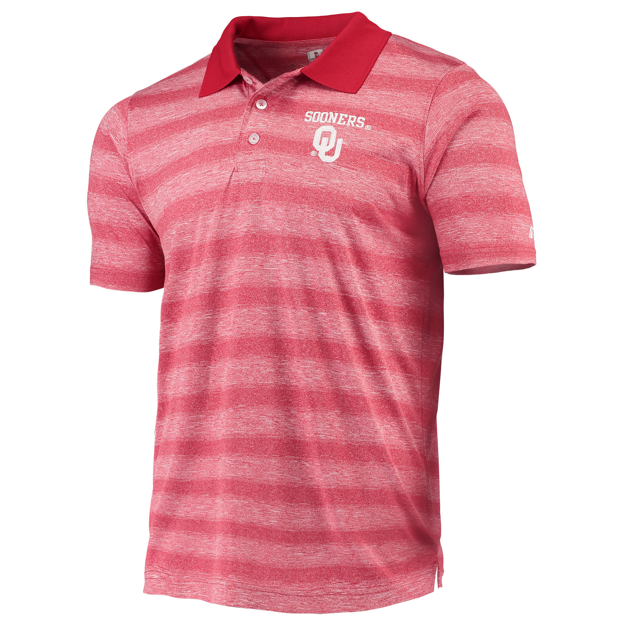 Men's Russell Crimson Oklahoma Sooners Classic Striped Polo