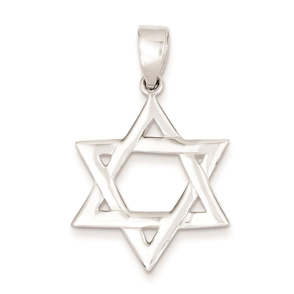 925 Sterling Silver Polished Star of David 4mm Fitting Charm Pendant