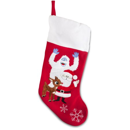 Soft Rudolph the Red Nosed Reindeer Embroidered Applique Stocking 18in Featuring Bumble and Santa