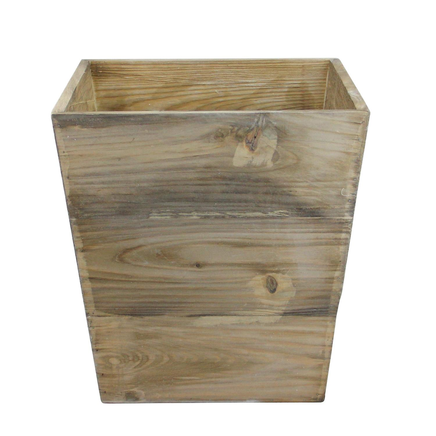 "13.75"" Country Rustic Natural Wood Storage Bin Container"