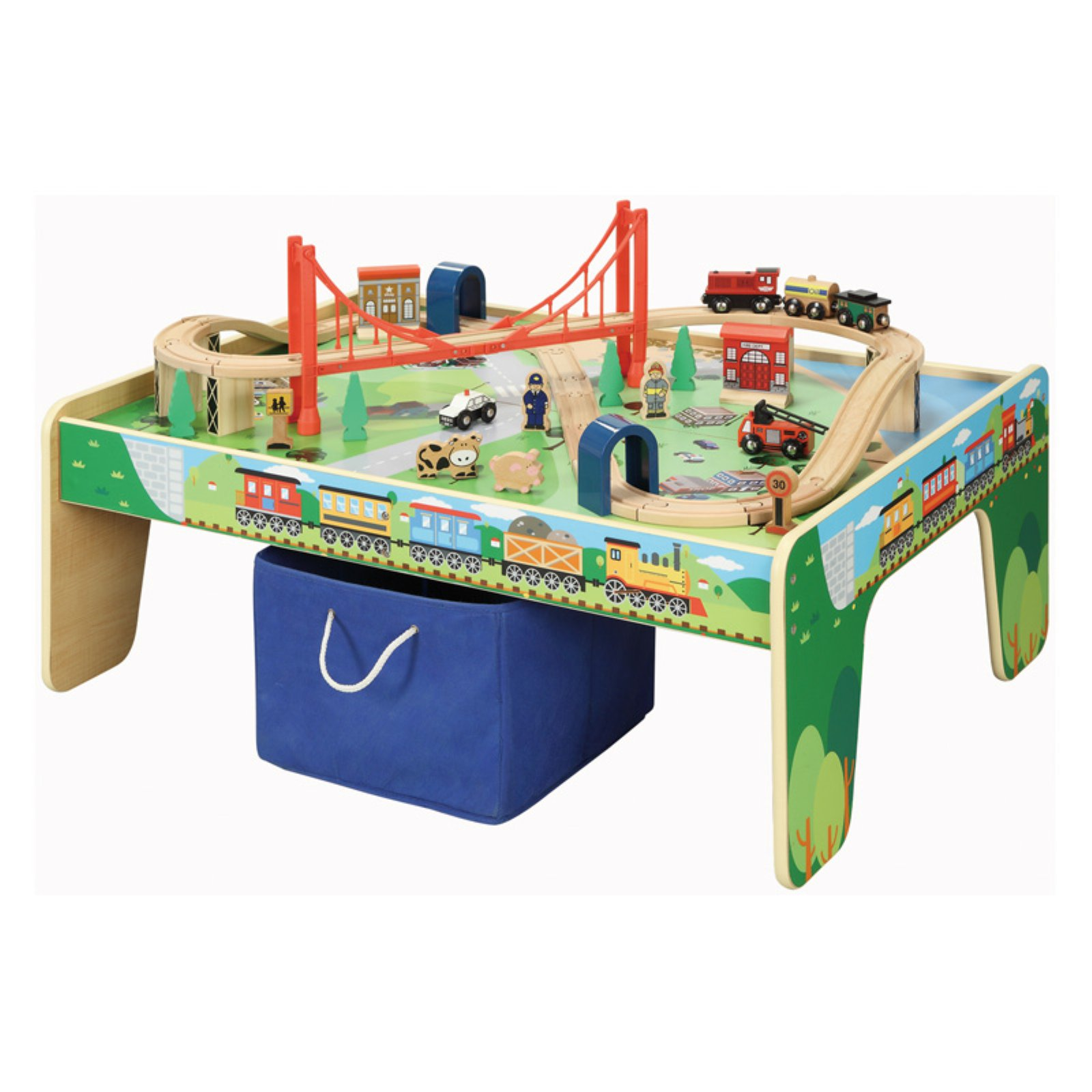 Maxim Enterprise 50 Piece Train Table and Train Set by WoodenTracks.com Inc