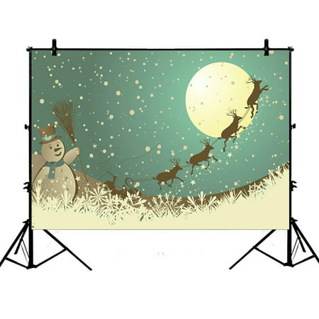 PHFZK 7x5ft Christmas Theme Backdrops, Winter Holiday Merry Christmas Happy Snowman and Reindeer Photography Backdrops Polyester Photo Background Studio Props](Reindeer Props)