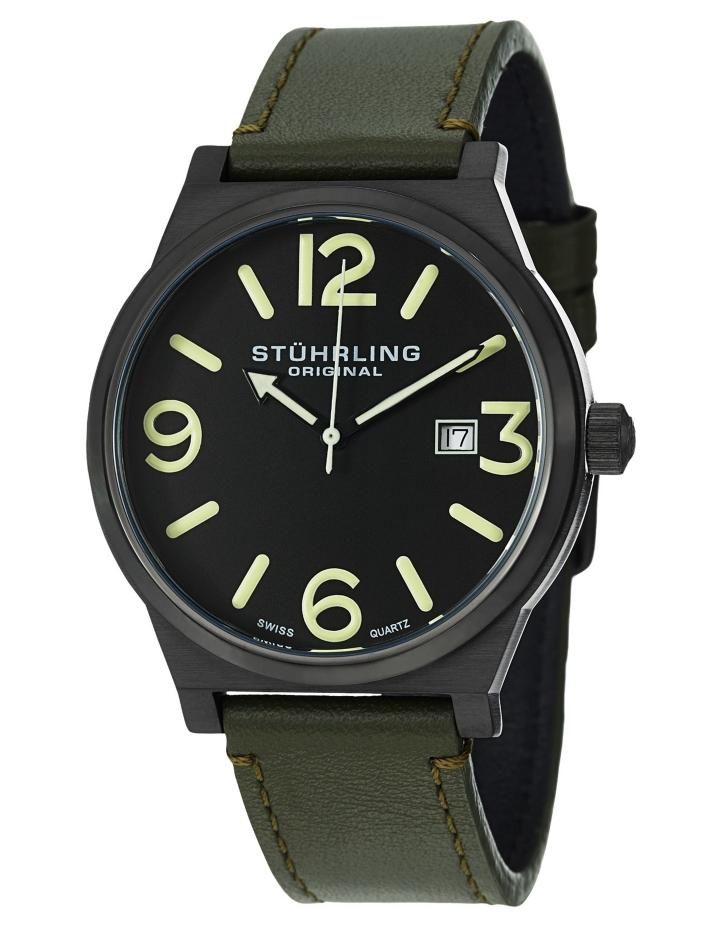 Stuhrling Men's 454 3355D1 Leisure Eagle Osprey Swiss Quartz Green Leather Watch