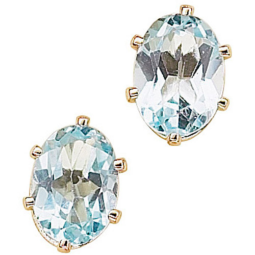 1.14 Carat T.G.W. Blue Topaz 14kt Gold-Plated Stud Earrings