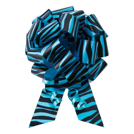 10 5 blue zebra print pull bow pew bows wedding decorations christmas gift wrap - Christmas Zebra Decorations