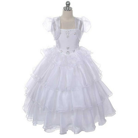 Rain Kids Girls 10 White Beaded Organza First Communion Dress Jacket - Communion Dress Sale