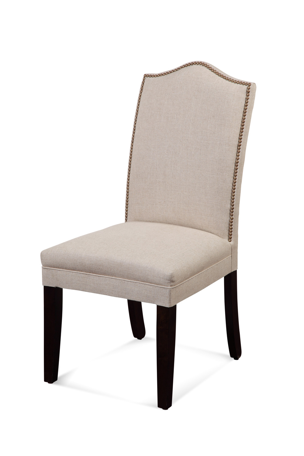 Bassett Camelback Nailhead Parsons Chair in Natural Linen by