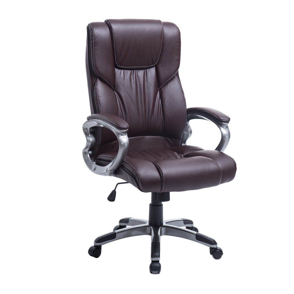 Brown High Back Office Chair Massaging PU Leather Executive Ergonomic Swivel Lift Office Chair with Armrests, Backrest And Height Adjustable