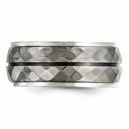 Edward Mirell Sterling Silver & Black Ti Inlay Black Stripe Ring Size 8 - image 2 of 4