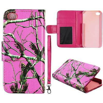 For Apple Iphone 4 , 4S Wallet Pnk Pinetree Camo Syn Leather Folio Dual Layer Interior Design Flip PU Leather case Cover Card Cash Slots & Stand  Cover