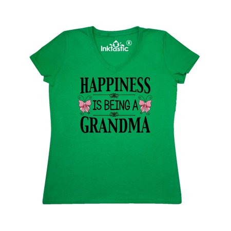 Happiness is being a Grandma with Butterflies Women's V-Neck (Butterfly Metallic T-shirt)