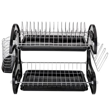 Multifunctional Dual Layers Bowls & Dishes & Chopsticks & Spoons Collection Shelf Dish Drainer Black (Billet Dual Bowl)