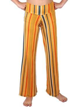 Lori & Jane Girls Mustard Teal Stripe Pattern Palazzo Wide Pants