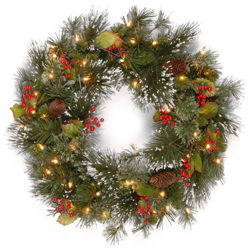 National Tree Co. National Tree Pre - Lit 24 Wintry Pine Wreath with 50 Clear Lights