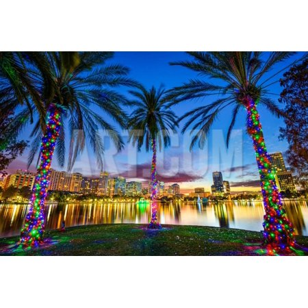 Orlando, Florida, USA Downtown Cityscape from Eola Lake. Print Wall Art By - Orlando Halloween Downtown