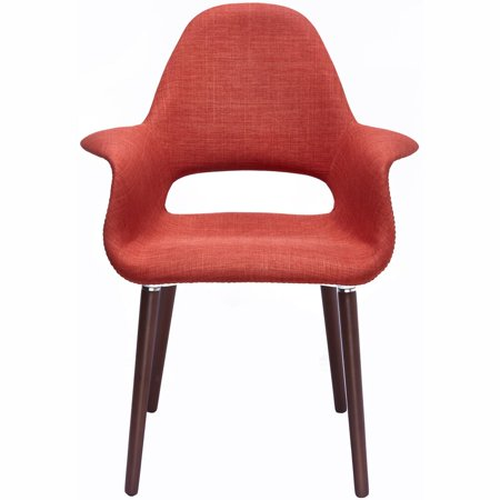 2xhome Orange Mid Century Modern Upholstered Fabric Organic Accent Living Room Dining Chair Armchair Set With Back Armrest Natural Light Wood Wooden Legs for Kitchen Bedroom ()