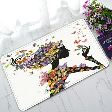 PHFZK Colorful Flower Girl Doormat, Floral Butterflies Doormat Outdoors/Indoor Doormat Home Floor Mats Rugs Size 30x18 inches](Butterfly Rug)