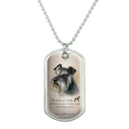 Schnauzer Dog Breed Military Dog Tag Pendant Necklace with Chain