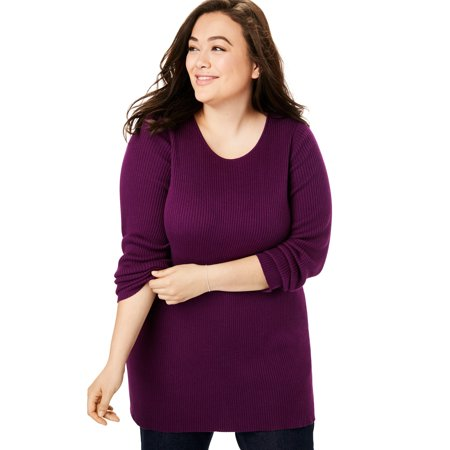 Woman Within Plus Size Pullover Rib Knit Scoop Neck Sweater ()
