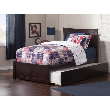 Metro Platform Bed with Flat Panel Foot Board and Twin Size Urban Trundle Bed in, Multiple Colors and -