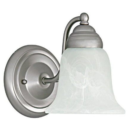 Capital Lighting One Light Wall Sconce, Matte Nickel Finish with Faux White Alabaster Glass