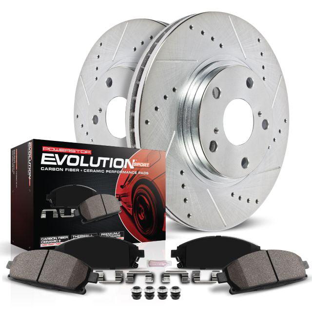 Power Stop K2784 Front /& Rear Brake Kit with Drilled//Slotted Brake Rotors and Z23 Evolution Ceramic Brake Pads