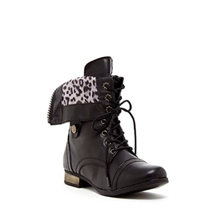 Charles Albert Women's Cablee Combat Boot with Leopard Foldover Cuff in Black Size: