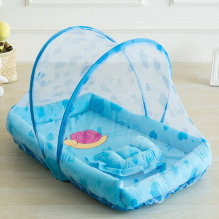 Portable Folding Baby Crib Mosquito Net Portable Baby Cots Newborn Foldable Crib Blue