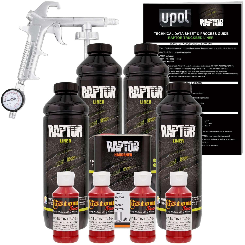 U-POL Raptor Hot Rod Red Urethane Spray-On Truck Bed Liner Kit w/ FREE Custom Coat Spray Gun with Regulator, 4 Liters