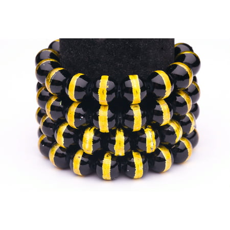 Black Gold Foiled(Gold Foiled) Glass Pearls 16mm Round Sold per pkg of 32Inch