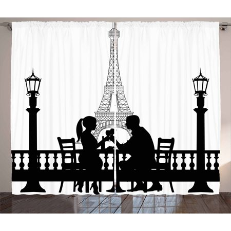 Romantic Curtains 2 Panels Set, Couple Having a Romantic Dinner in front of the Eiffel Tower Capital of Love, Window Drapes for Living Room Bedroom, 108W X 63L Inches, Black White, by Ambesonne ()