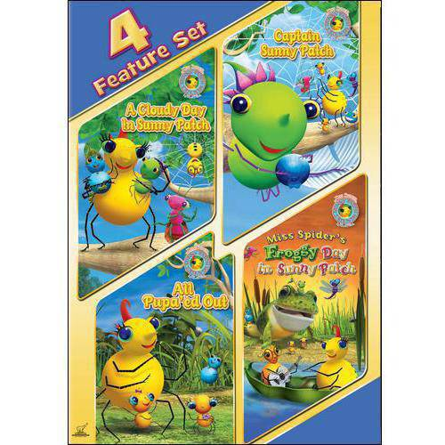 Miss Spider: 4 Feature Set - A Cloudy Day In Sunny Patch / Captain Sunny Patch / All Pupa'ed Out / Froggy Day In Sunny Patch