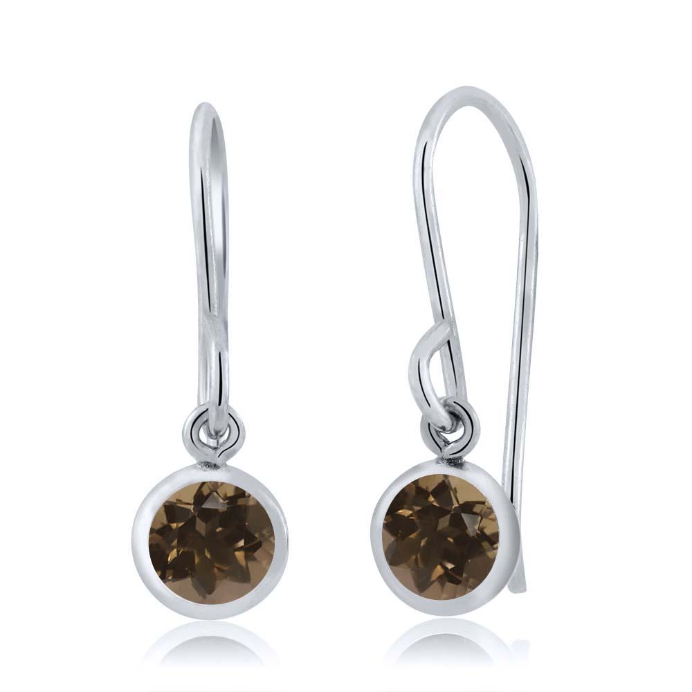 0.92 Ct Round Brown Smoky Quartz Sterling Silver bezel Dangle Earrings 5mm