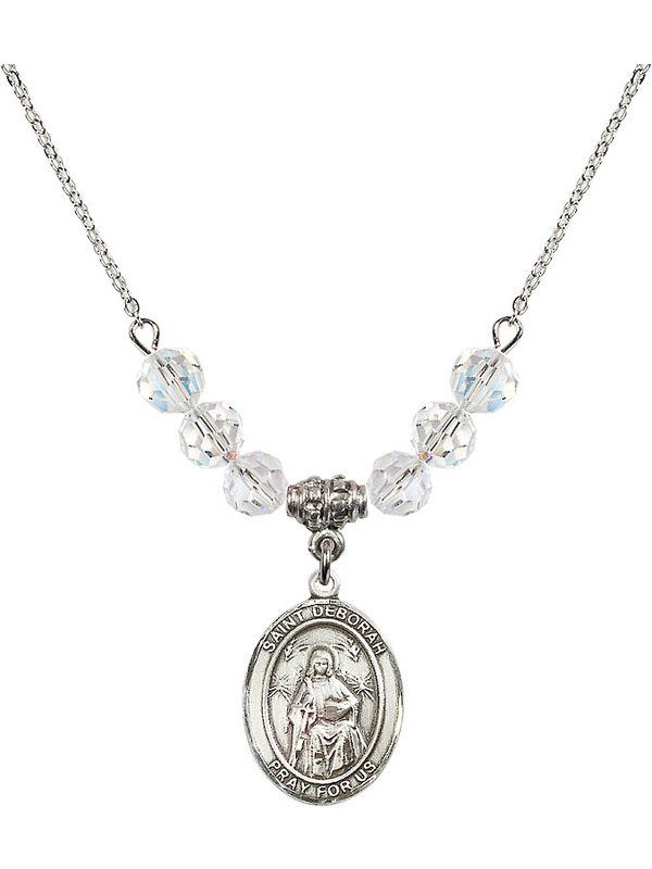 Bonyak Jewelry 18 Inch Rhodium Plated Necklace w// 6mm Green May Birth Month Stone Beads and Seven Gifts Charm