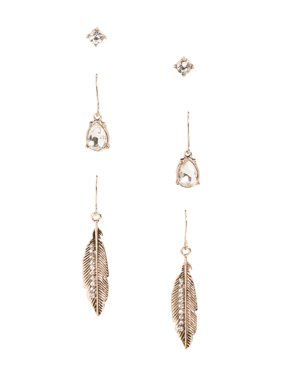 Feather Earring Trio Set
