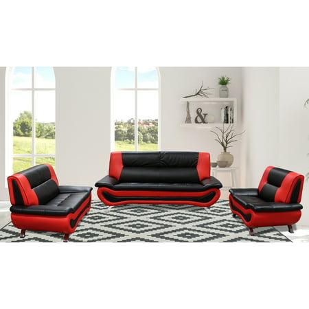 Taryns- 3 PC Bonded Leather Black/Red Livingroom Set