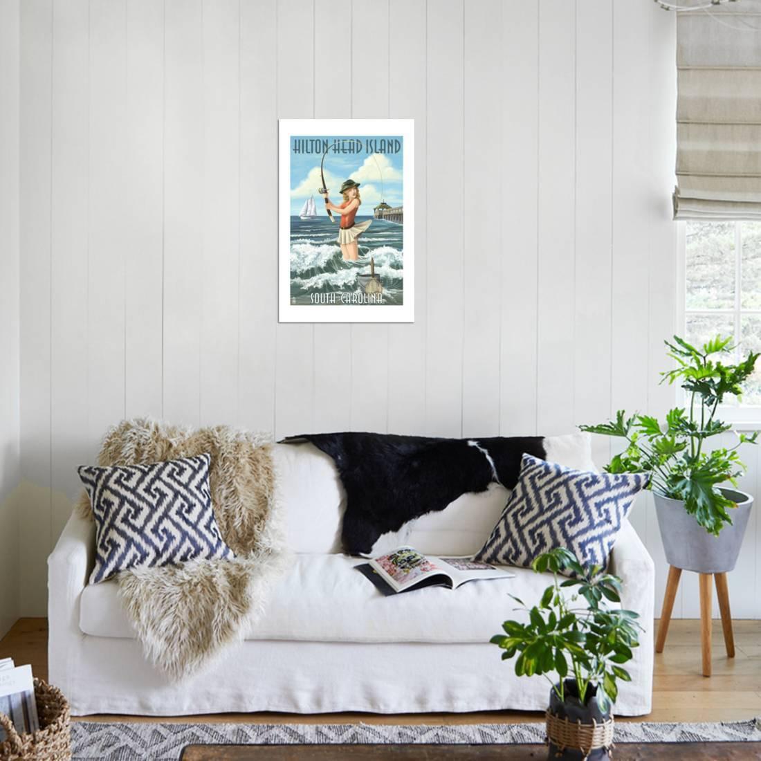 Hilton Head Island South Carolina Pinup Surfer Fishing Print Wall