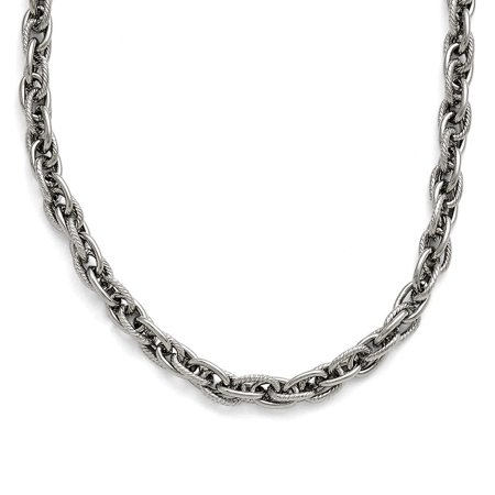 Stainless Steel Polished and Textured 5.00mm Fancy Link Chain Necklace