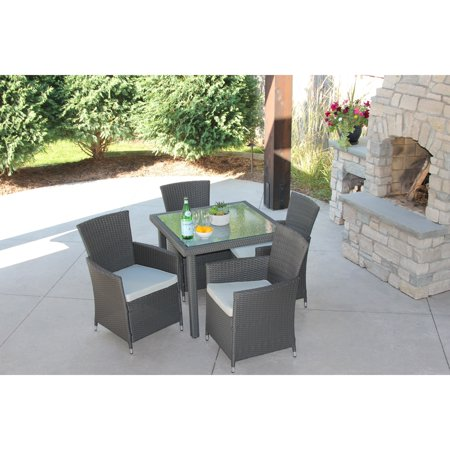 5 Piece Gray Wicker Outdoor Dining Set With Square Wicker Table With Recessed Glass If you are unable to see this product we apologize for the inconvenience. Please enter 96295 in the search bar on Overstock.com to see this product and more that we have to offer. If you have any questions or are unable to see the product that you wish, please contact our customer service department.This product will ship to you in multiple boxes.Assembly Required