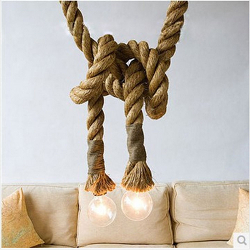 Vintage Rustic Hemp Rope Ceiling Chandelier Creative Pendant Lamp Hanging Lights for Living Room Bar Public Places Decor Specification:Dual head(2M)