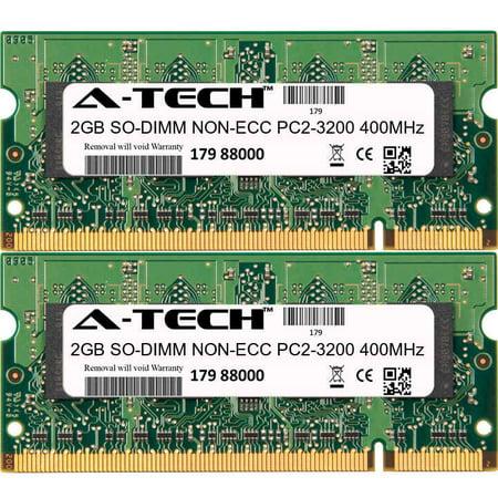 4GB Kit 2x 2GB Modules PC2-3200 400MHz NON-ECC DDR2 SO-DIMM Laptop 200-pin Memory