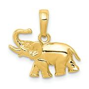 14k Yellow Gold Polished Elephant Pendant Gift Set From Heart