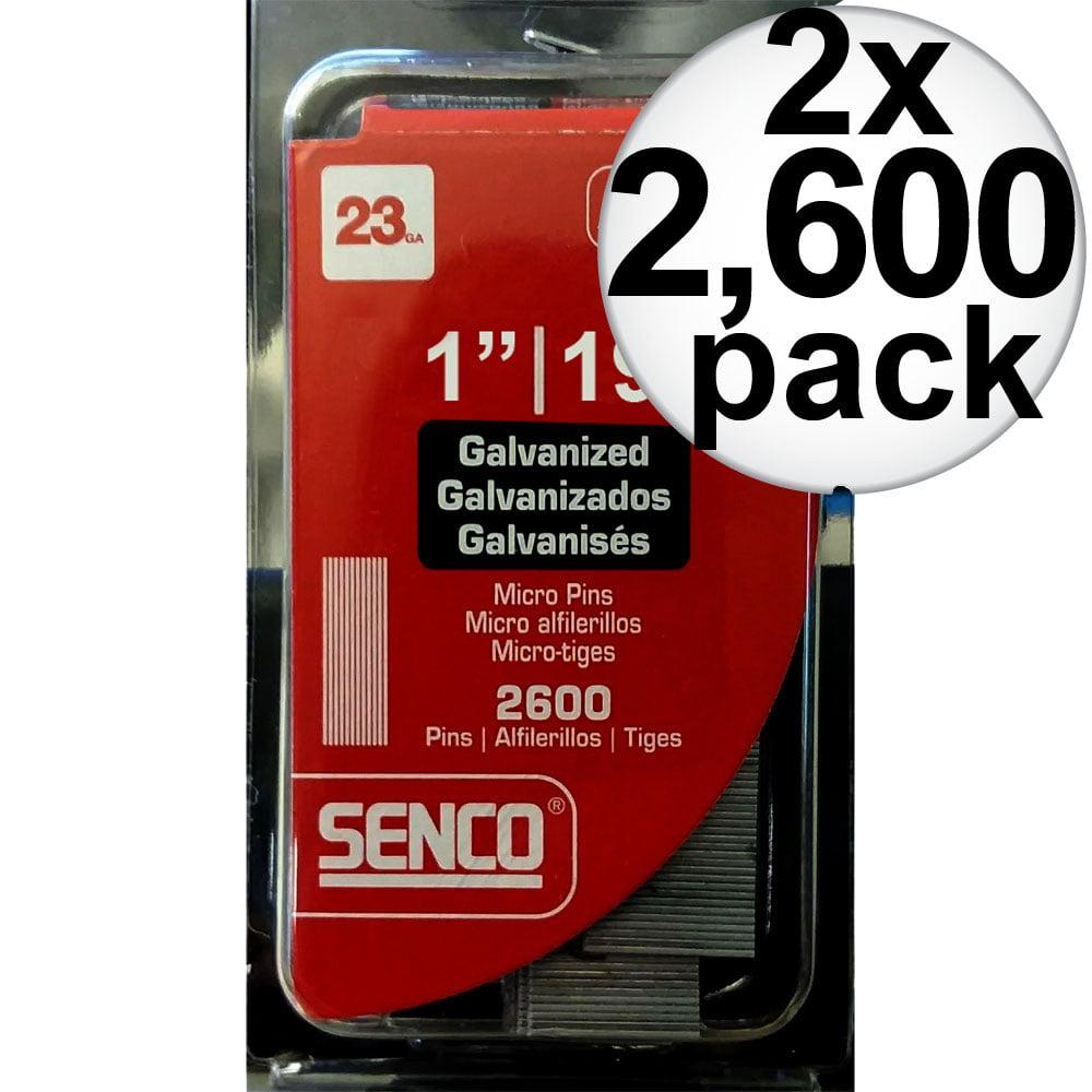 "Senco A101009 2,600pk 1"" 23 Gauge Galvanized Micro Pin Nails 2-Pack"