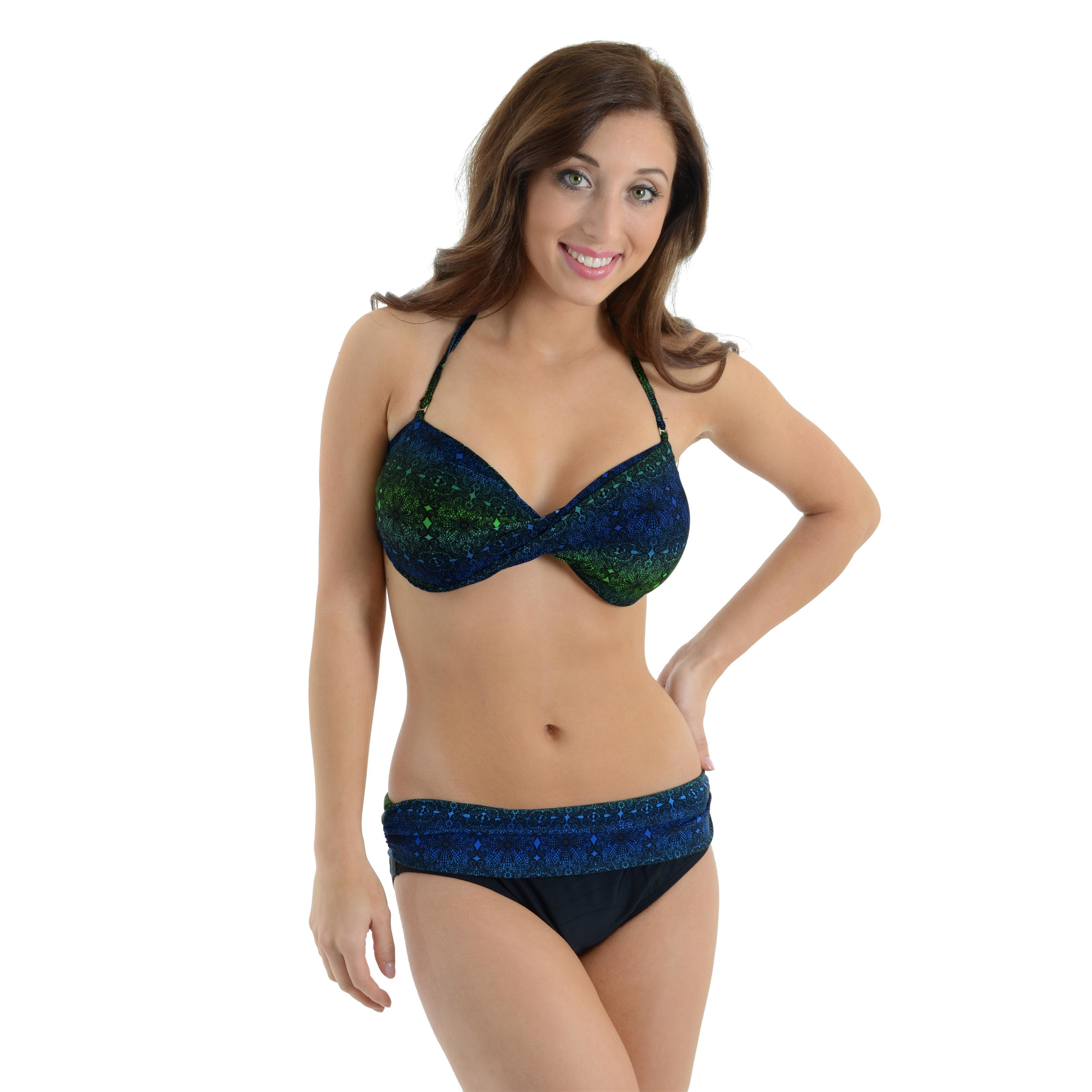 Caribbean Sand Women's 2 Piece Swimsuit Set Black Blue Green Bandeau Top