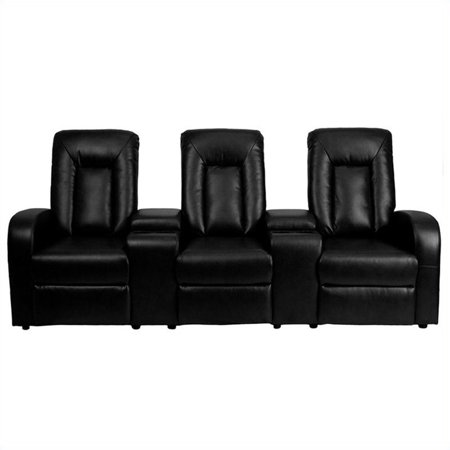 Flash Furniture Leather 3-Seat Home Theater Recliner with Storage Consoles, Multiple (Home Theater Furniture)