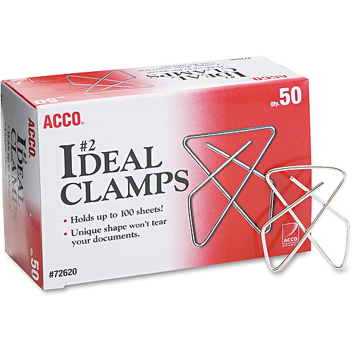 "ACCO Ideal Clamps, Steel Wire, Small, 1-1/2"", Silver, 50 Per Box"