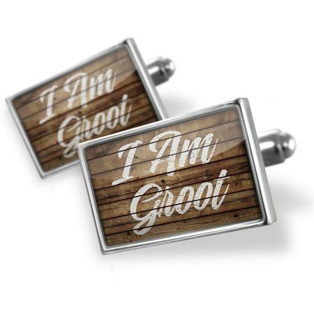 Cufflinks Painted Wood I Am Groot - NEONBLOND (Wood Cufflinks)